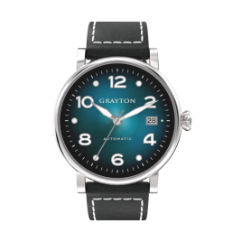 81034.1834 - AUTOMATIC WATCH BLUE COLOR GRADIENT DIAL & BLACK FLAT-CUT EDGE LEATHER STRAP WITH WHITE STITCHING AND STAINLESS STEEL CASE