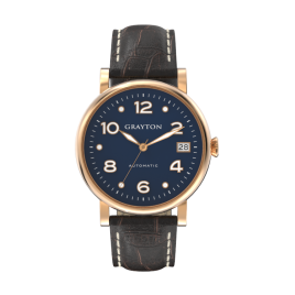 s.8-36-014_f - WOMEN'S AUTOMATIC WATCH BLUE DIAL & BROWN CROCO EMBOSSED LEATHER STRAP