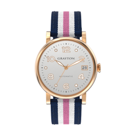 s.8-36-041_f - WOMEN'S AUTOMATIC WATCH WHITE SILVER DIAL & BLUE, WHITE AND PINK 3 COLORS FABRIC STRAP