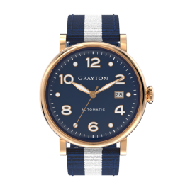 s.8-44-046_f - MEN'S AUTOMATIC WATCH BLUE DIAL & BLUE AND WHITE 2 COLORS FABRIC STRAP